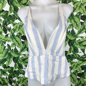 Olivaceous Blue Striped Deep V Neck Peplum Tank